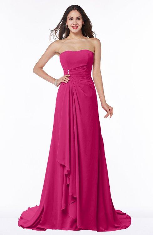 ColsBM Teresa Beetroot Purple Traditional A-line Strapless Lace up Chiffon Brush Train Plus Size Bridesmaid Dresses