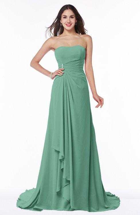 ColsBM Teresa Beryl Green Traditional A-line Strapless Lace up Chiffon Brush Train Plus Size Bridesmaid Dresses