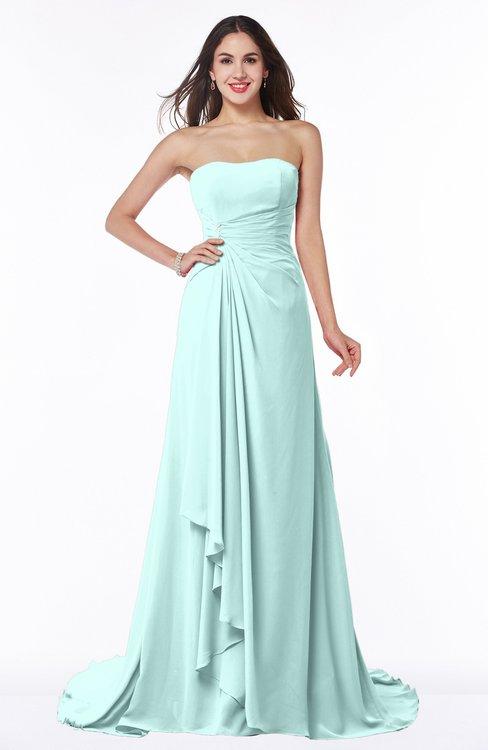 ColsBM Teresa Blue Glass Traditional A-line Strapless Lace up Chiffon Brush Train Plus Size Bridesmaid Dresses