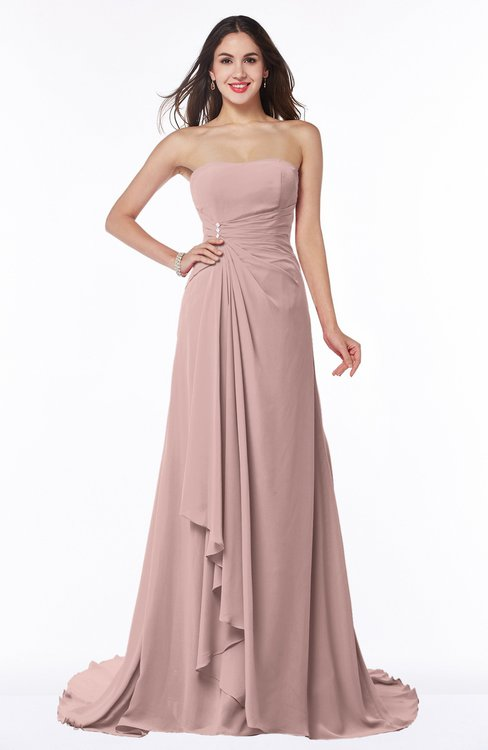 ColsBM Teresa Blush Pink Traditional A-line Strapless Lace up Chiffon Brush Train Plus Size Bridesmaid Dresses