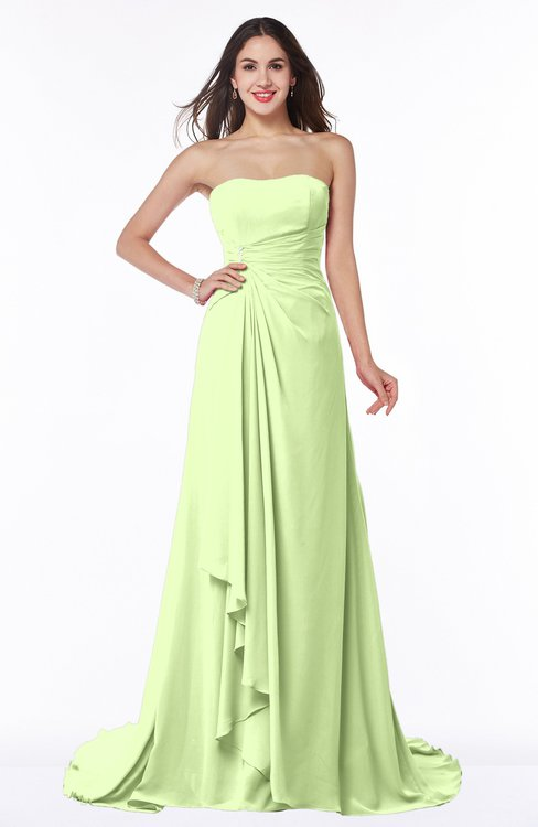 ColsBM Teresa Butterfly Traditional A-line Strapless Lace up Chiffon Brush Train Plus Size Bridesmaid Dresses