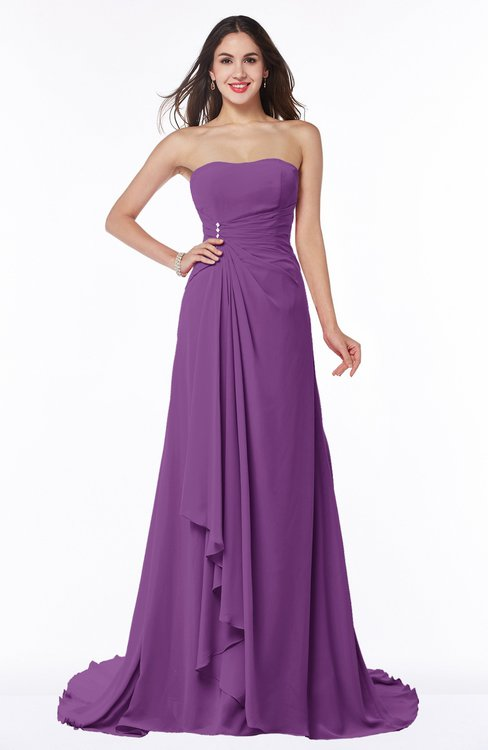 ColsBM Teresa Dahlia Traditional A-line Strapless Lace up Chiffon Brush Train Plus Size Bridesmaid Dresses
