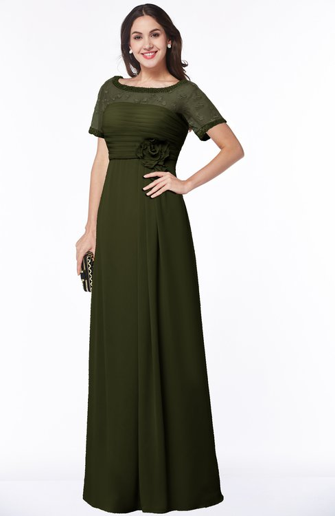 ColsBM Amanda Beech Traditional Short Sleeve Zip up Chiffon Floor Length Flower Bridesmaid Dresses