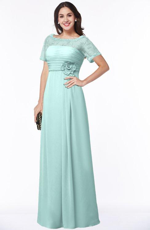 ColsBM Amanda Blue Glass Traditional Short Sleeve Zip up Chiffon Floor Length Flower Bridesmaid Dresses