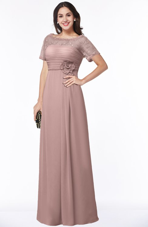 ColsBM Amanda Blush Pink Traditional Short Sleeve Zip up Chiffon Floor Length Flower Bridesmaid Dresses