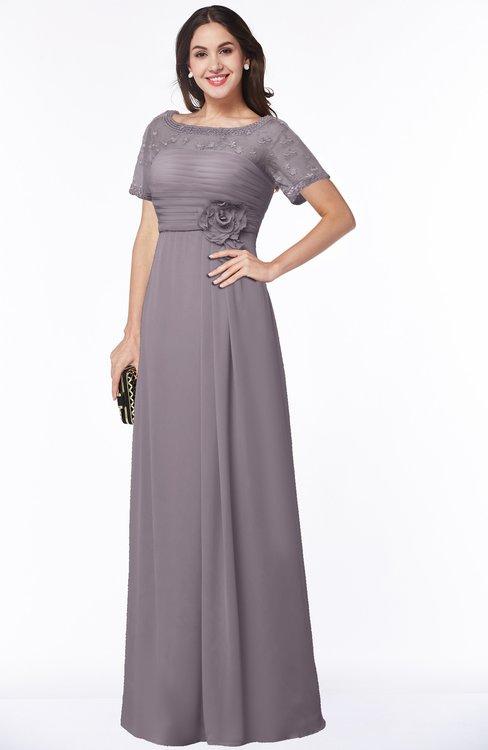 ColsBM Amanda Cameo Traditional Short Sleeve Zip up Chiffon Floor Length Flower Bridesmaid Dresses