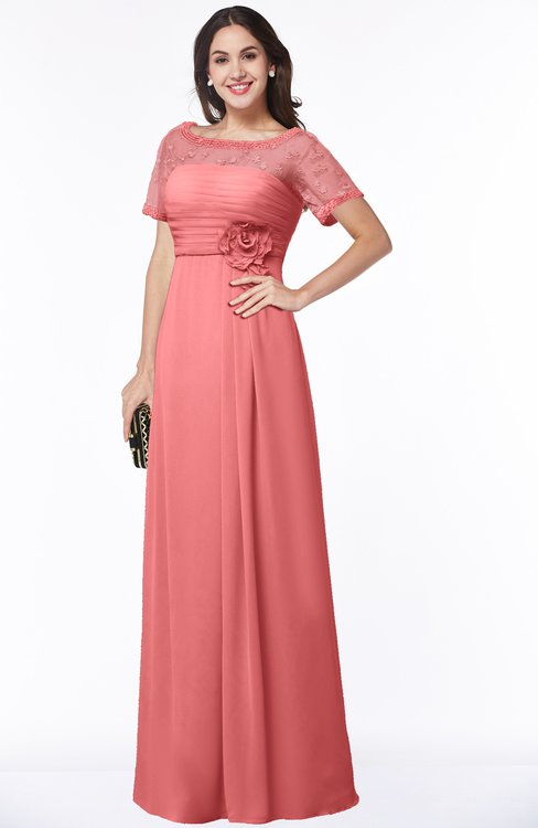 ColsBM Amanda Coral Traditional Short Sleeve Zip up Chiffon Floor Length Flower Bridesmaid Dresses