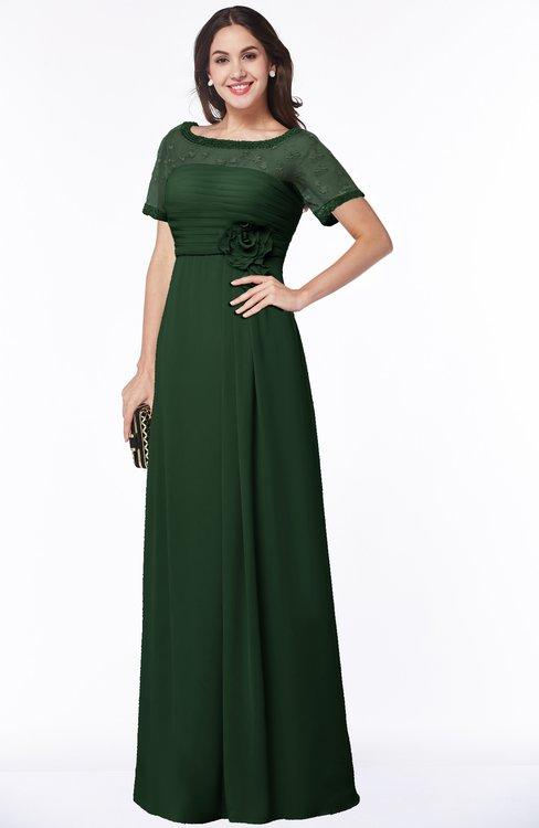 ColsBM Amanda Hunter Green Traditional Short Sleeve Zip up Chiffon Floor Length Flower Bridesmaid Dresses