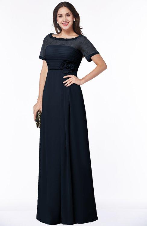 ColsBM Amanda Navy Blue Traditional Short Sleeve Zip up Chiffon Floor Length Flower Bridesmaid Dresses