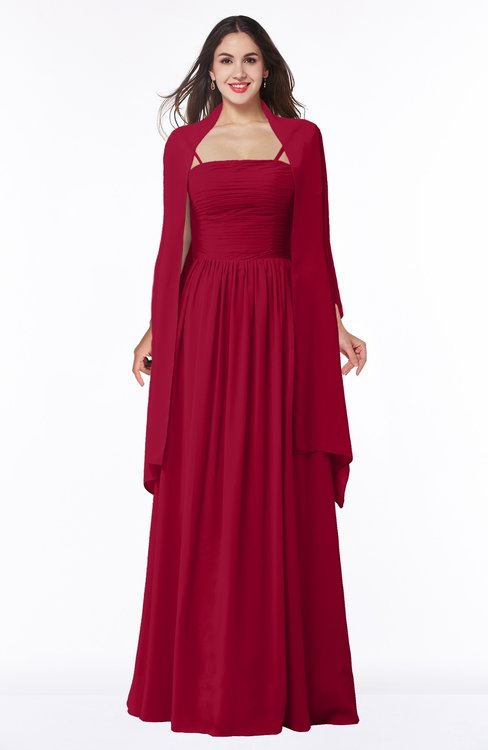 ColsBM Elyse Dark Red Traditional A-line Sleeveless Zip up Chiffon Floor Length Mother of the Bride Dresses