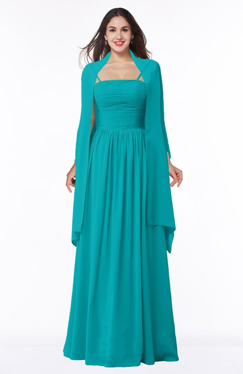 ColsBM Elyse Teal Traditional A-line Sleeveless Zip up Chiffon Floor Length Mother of the Bride Dresses