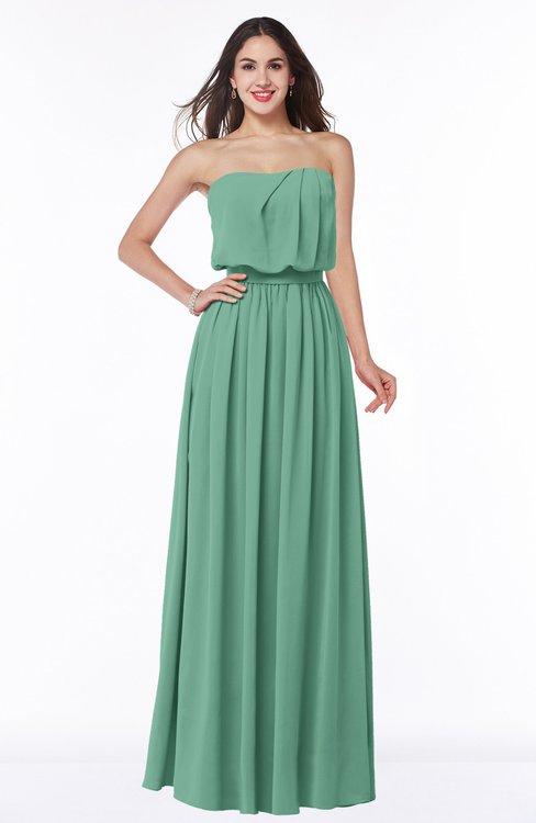 ColsBM Adelaide Beryl Green Romantic A-line Sleeveless Zipper Ribbon Plus Size Bridesmaid Dresses