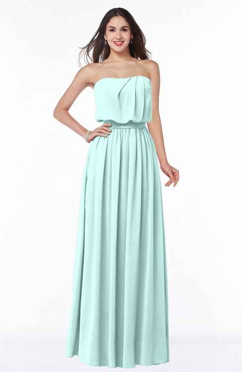 ColsBM Adelaide Blue Glass Romantic A-line Sleeveless Zipper Ribbon Plus Size Bridesmaid Dresses
