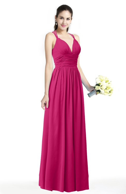 ColsBM Veronica Beetroot Purple Simple A-line Sleeveless Zipper Chiffon Sash Plus Size Bridesmaid Dresses