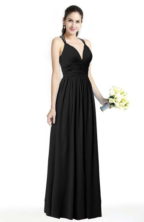 ColsBM Veronica Black Simple A-line Sleeveless Zipper Chiffon Sash Plus Size Bridesmaid Dresses