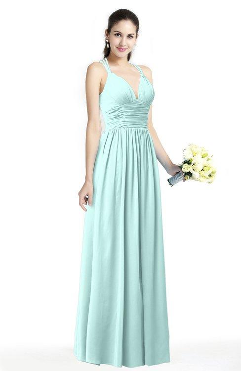 ColsBM Veronica Blue Glass Simple A-line Sleeveless Zipper Chiffon Sash Plus Size Bridesmaid Dresses