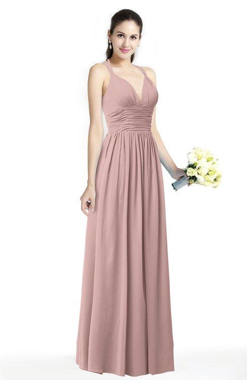 ColsBM Veronica Blush Pink Simple A-line Sleeveless Zipper Chiffon Sash Plus Size Bridesmaid Dresses