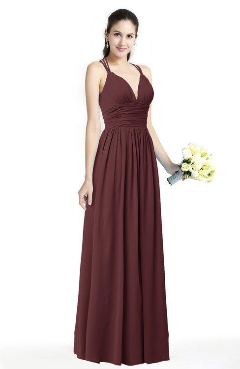 ColsBM Veronica Burgundy Simple A-line Sleeveless Zipper Chiffon Sash Plus Size Bridesmaid Dresses