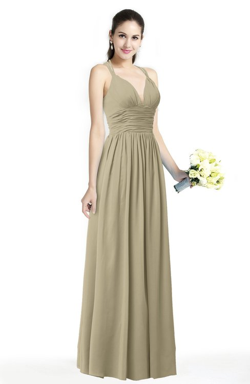 ColsBM Veronica Candied Ginger Simple A-line Sleeveless Zipper Chiffon Sash Plus Size Bridesmaid Dresses