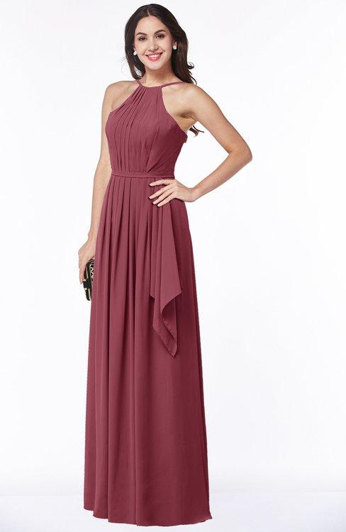 ColsBM Jasmine Wine Sexy Halter Sleeveless Zipper Chiffon Ruching Plus Size Bridesmaid Dresses