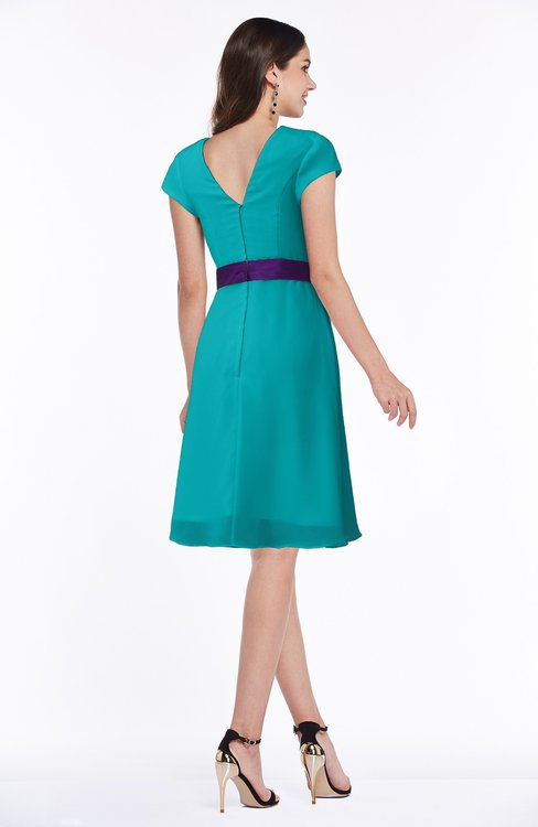 4745e10fe54 ... ColsBM Margot Teal Classic V-neck Short Sleeve Chiffon Knee Length  Bridesmaid Dresses