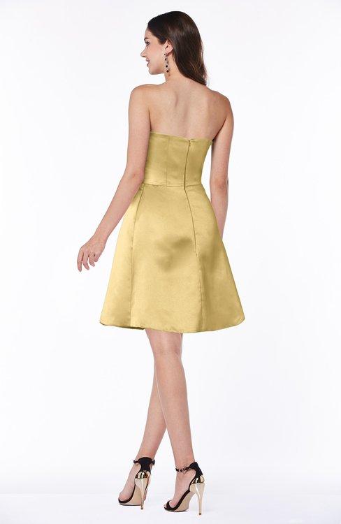e5aa2f2b76dd ... ColsBM Prudence Gold Classic A-line Half Backless Knee Length Ruching  Little Black Dresses