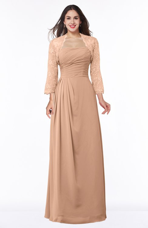 ColsBM Camila Almost Apricot Modest Strapless Zip up Floor Length Lace Mother of the Bride Dresses