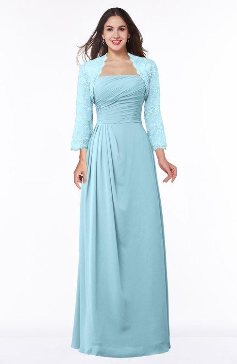 ColsBM Camila Aqua Modest Strapless Zip up Floor Length Lace Mother of the Bride Dresses