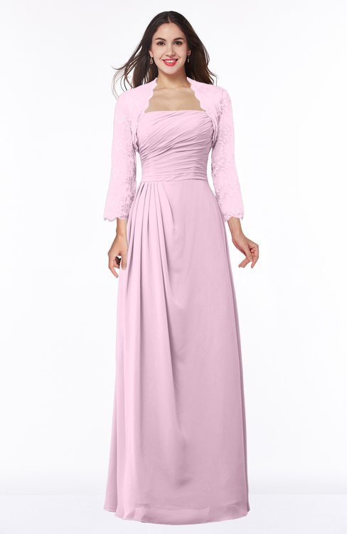 ColsBM Camila Baby Pink Modest Strapless Zip up Floor Length Lace Mother of the Bride Dresses