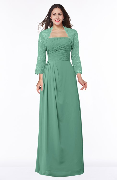 ColsBM Camila Beryl Green Modest Strapless Zip up Floor Length Lace Mother of the Bride Dresses