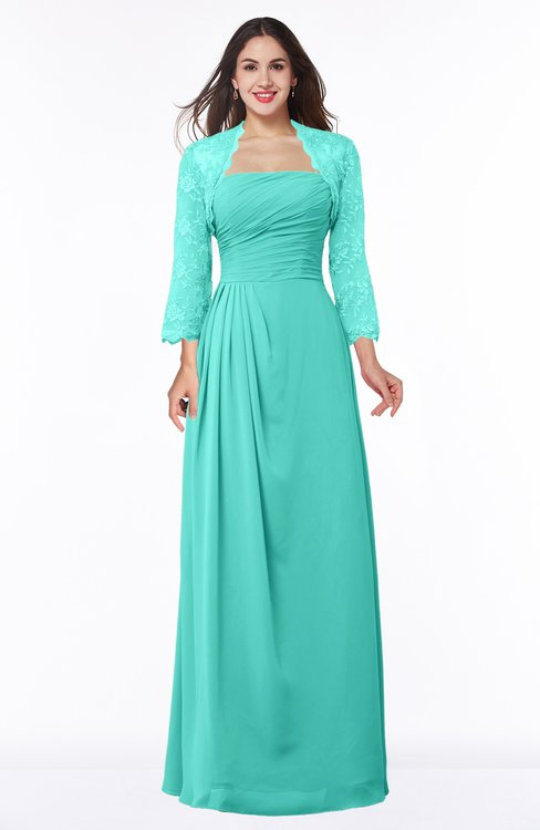 ColsBM Camila Blue Turquoise Modest Strapless Zip up Floor Length Lace Mother of the Bride Dresses