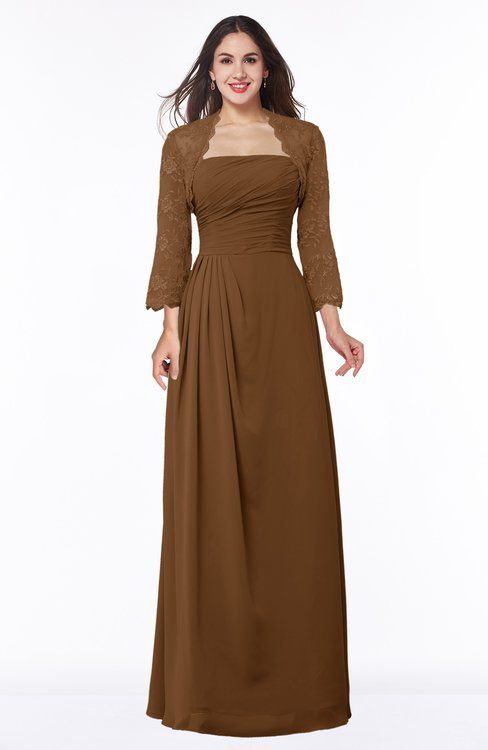 ColsBM Camila Brown Modest Strapless Zip up Floor Length Lace Mother of the Bride Dresses