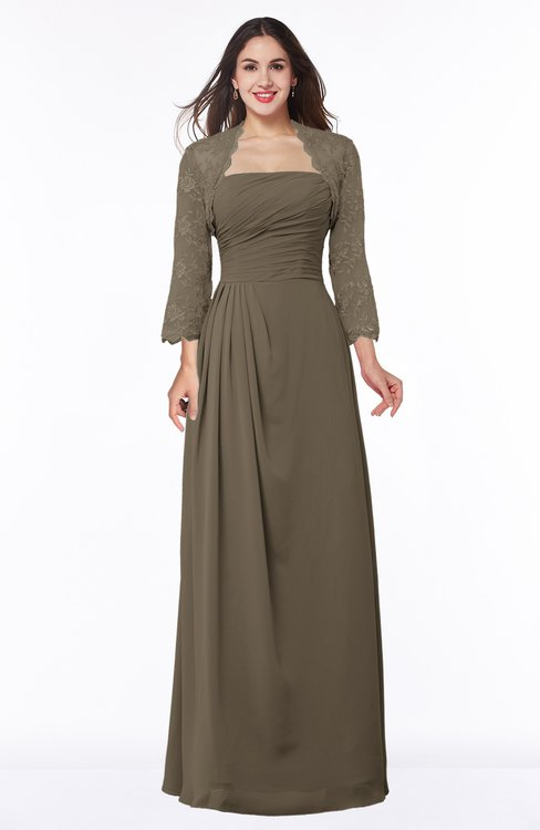 ColsBM Camila Carafe Brown Modest Strapless Zip up Floor Length Lace Mother of the Bride Dresses