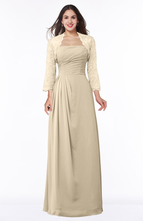 ColsBM Camila Champagne Modest Strapless Zip up Floor Length Lace Mother of the Bride Dresses