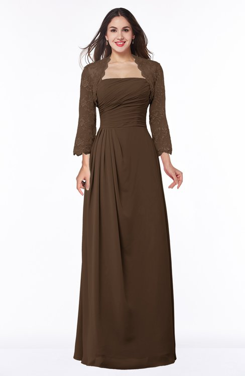 ColsBM Camila Chocolate Brown Modest Strapless Zip up Floor Length Lace Mother of the Bride Dresses