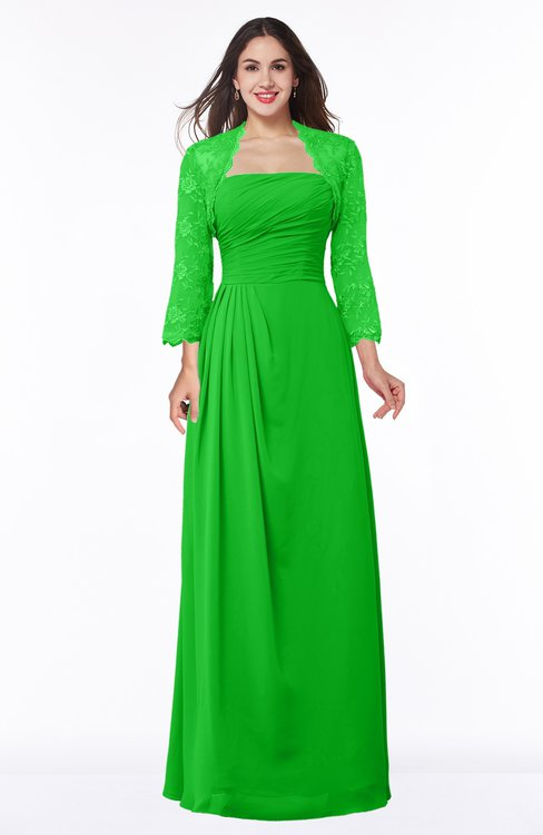 ColsBM Camila Classic Green Modest Strapless Zip up Floor Length Lace Mother of the Bride Dresses
