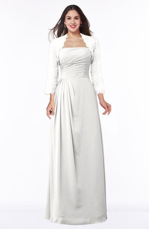 ColsBM Camila Cloud White Modest Strapless Zip up Floor Length Lace Mother of the Bride Dresses