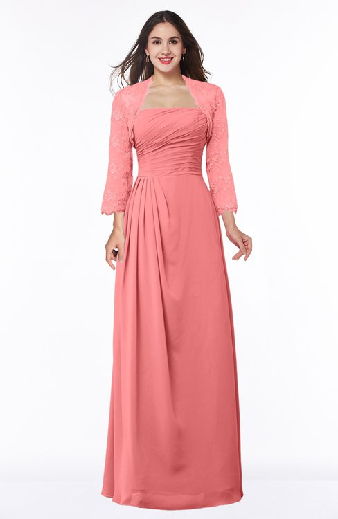ColsBM Camila Coral Modest Strapless Zip up Floor Length Lace Mother of the Bride Dresses