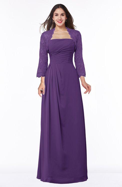 ColsBM Camila Dark Purple Modest Strapless Zip up Floor Length Lace Mother of the Bride Dresses