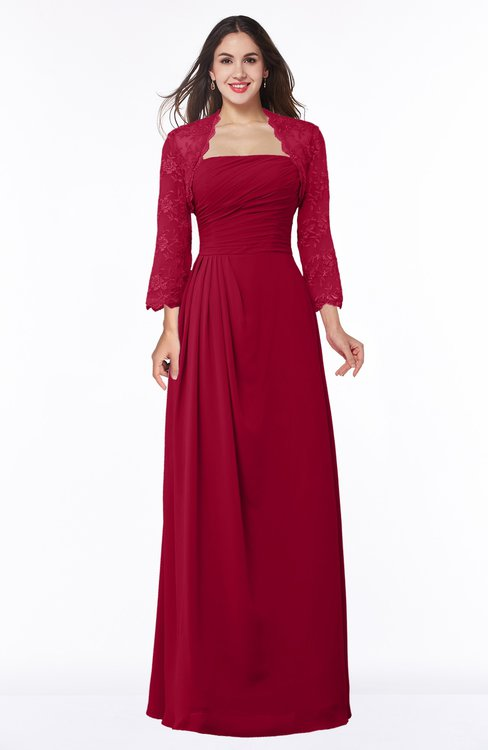 ColsBM Camila Dark Red Modest Strapless Zip up Floor Length Lace Mother of the Bride Dresses