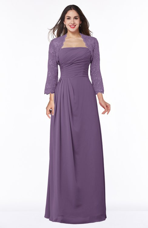 ColsBM Camila Eggplant Modest Strapless Zip up Floor Length Lace Mother of the Bride Dresses