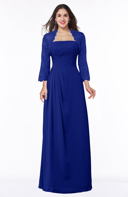 ColsBM Camila Electric Blue Modest Strapless Zip up Floor Length Lace Mother of the Bride Dresses