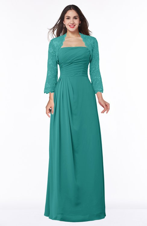 ColsBM Camila Emerald Green Modest Strapless Zip up Floor Length Lace Mother of the Bride Dresses