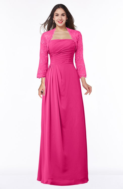 ColsBM Camila Fandango Pink Modest Strapless Zip up Floor Length Lace Mother of the Bride Dresses