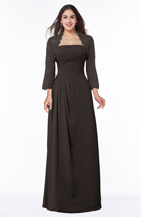 ColsBM Camila Fudge Brown Modest Strapless Zip up Floor Length Lace Mother of the Bride Dresses