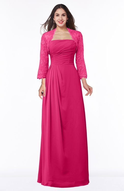 ColsBM Camila Fuschia Modest Strapless Zip up Floor Length Lace Mother of the Bride Dresses