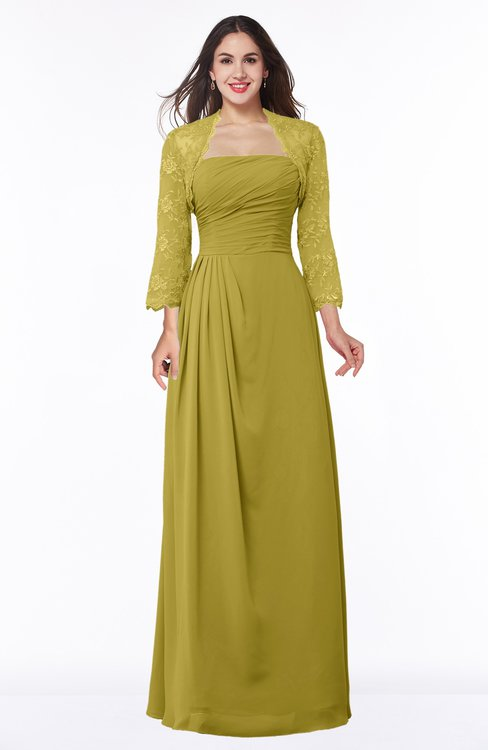 ColsBM Camila Golden Olive Modest Strapless Zip up Floor Length Lace Mother of the Bride Dresses