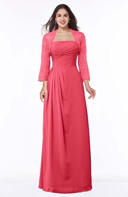 ColsBM Camila Guava Modest Strapless Zip up Floor Length Lace Mother of the Bride Dresses