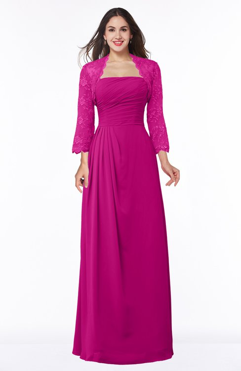 ColsBM Camila Hot Pink Modest Strapless Zip up Floor Length Lace Mother of the Bride Dresses