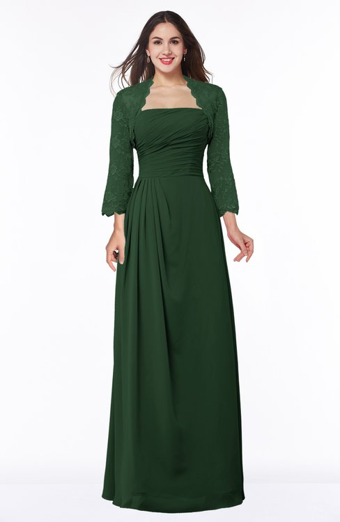 ColsBM Camila Hunter Green Modest Strapless Zip up Floor Length Lace Mother of the Bride Dresses